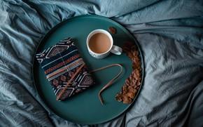 Обои tray, book, bed, notebook, coffee, поднос, книга, кофе, кровать, diary, навочка, the nap, блоктнот, ежедневник