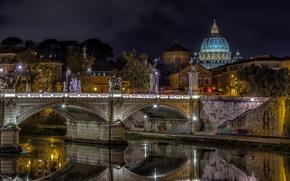 Картинка ночь, мост, огни, река, Рим, Италия, купол, Собор Святого Петра, Тибр