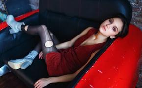 Обои декольте, девушка, ножки, Мария Дёмина, макияж