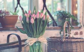 Картинка цветы, букет, тюльпаны, ваза, розовые