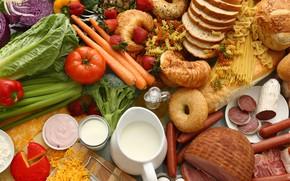 Картинка сосиски, молоко, клубника, хлеб, мясо, овощи, помидоры, морковь, спагетти, макароны, ассорти