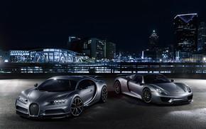 Обои Porsche, Silver, Chiron, Bugatti, 918, Spyder, City, Lights, VAG