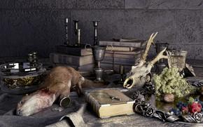 Картинка стол, стена, бокал, тушка, Fin-de-siecle hunting gallery
