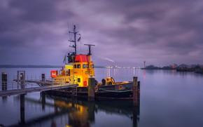 Картинка ночь, река, корабль