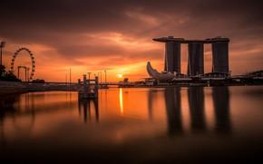 Картинка пейзаж, Море, Ночь, Город, Небоскребы, Сингапур