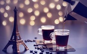 Картинка мечта, кофе, зерна, Эйфелева башня, кофейник