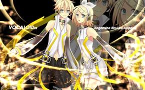 Картинка сияние, аниме, арт, двое, Vocaloid, Вокалоид, Кагомине Лен, Кагомине Рин