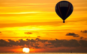 Картинка море, солнце, закат, воздушный шар