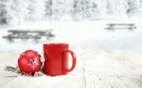 Картинка зима, снег, Новый Год, Рождество, кружка, Christmas, winter, snow, новогодний шар, Merry Christmas, Xmas, ball, …