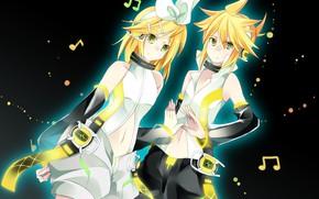 Картинка фон, двое, Vocaloid, Вокалоид, мелодии, Кагомине Лен, Кагомине Рин