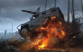 Картинка взрыв, огонь, автомобиль, орудие, game concepts