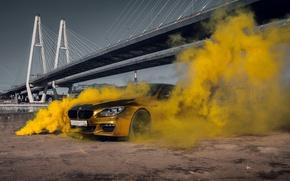 Картинка car, машина, авто, мост, city, туман, гонка, bmw, бмв, тачка, спорт кар, gold, автомобиль, need …