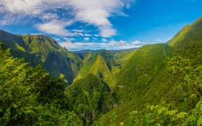 Картинка зелень, небо, облака, горы, скалы, Франция, ущелье, солнечно, Reunion