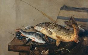 Картинка масло, картина, холст, Натюрморт с Рыбами, Питер ван Норт