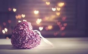 Обои bokeh, heart, love, pink, romantic, любовь, сердечки, сердце