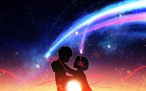 Картинка романтика, аниме, арт, двое, камета, Kimi no Na wa, Твоё имя, Kimi No Na Wa
