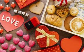Картинка любовь, коробка, сердце, завтрак, печенье, кольцо, подарки, День Святого Валентина