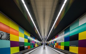 Обои перрон, метро, Мюнхен, станция, Германия