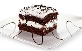Картинка шоколад, пирожное, крем, бисквит