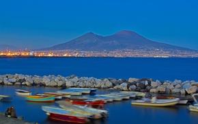 Картинка огни, гора, Италия, залив, Неаполь, Везувий, Кампания