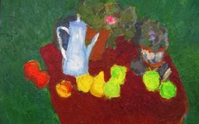 Картинка чайник, Натюрморт, 2005, зелёный фон, Петяев
