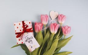 Картинка подарок, букет, тюльпаны, сердечко, открытка