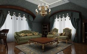 Картинка мебель, интерьер, помещение, Classical Interior, mansarda
