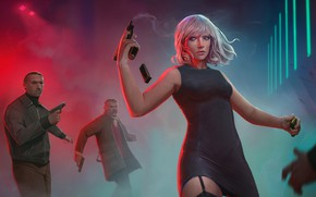 Картинка девушка, пистолет, Charlize Theron, мужчина, убийца, Lorraine Broughton, Atomic Blonde