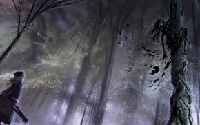 Картинка лес, монстр, девочка