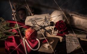 Картинка череп, портрет, ожерелье, веревка, книга, натюрморт, ножницы, гранат