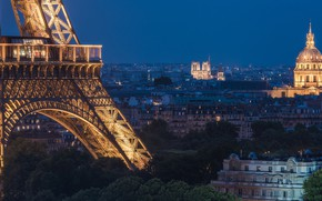 Картинка Франция, Париж, дома, панорама, Эйфелева башня, Paris, ночной город, Собор Парижской Богоматери, France, Eiffel Tower, …