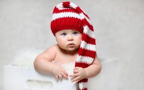 Обои взгляд, шапка, девочка, малышка, младенец