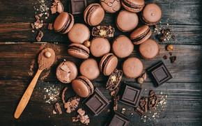 Картинка шоколад, ложка, орехи, макаруны