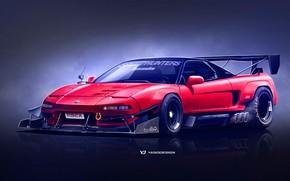Картинка Красный, Авто, Машина, Honda, Арт, Суперкар, Рендеринг, NSX, Японец, Honda NSX, Yasid Design, Yasid Oozeear, …