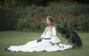 Обои боке, платье, девушка, перчатки, зонтик