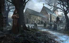 Обои tree, killer, church, Crypts, monk, graves