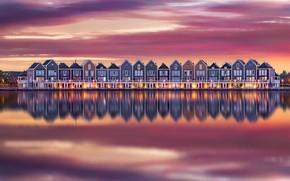 Картинка вода, отражения, огни, дома, вечер, утро, Нидерланды