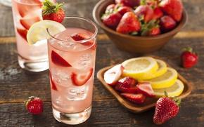 Обои клубника, лимонад, напиток, стакан, лед, лимон, ягоды