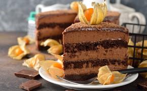 Обои торт, кусочек торта, украшение, крем, шоколад, десерт