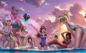 Обои Mei-Ling Zhou, девушки, Hana Song, лето, грудь, попа, D.Va, купальник, Lena Oxton, Widowmaker, пляж, Tracer, ...