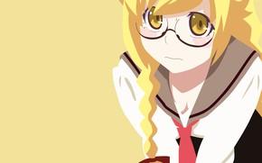 Картинка yellow, manga, bishojo, seifuku, light novel, Shinobu Oshino, japonese, .anime, by erominimalistsensei, Monogata ri Series