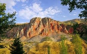 Картинка деревья, ветки, камни, скалы, солнечно, Армения, Noravank