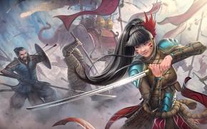 Картинка девушка, война, слон, меч, катана, воин, арт, копье, битва, стрелы, азиат