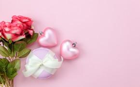Картинка любовь, фон, розовый, подарок, сердце, розы, букет, сердечки, red, love, pink, romantic, hearts, valentine's day, …