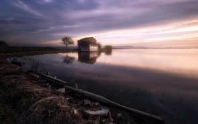 Картинка ночь, озеро, дом