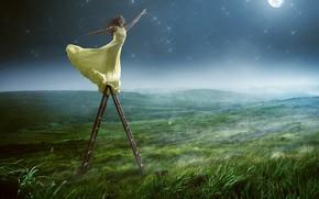 Обои трава, небо, луна, макияж, шатенка, улыбка, туман, звёзды, поза, платье, зелень, поле, девушка, настроение, в ...