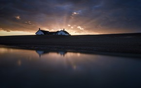Картинка закат, дом, берег