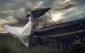 Картинка девушка, лодка, азиатка