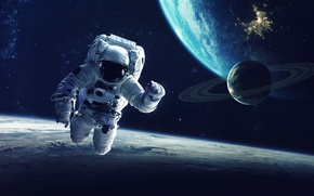 Обои protective clothing, Astronaut, planet, space