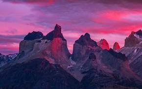 Картинка горы, вершина, зарево, пик, Чили, Торрес-дель-Пайне